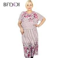 Bfdadi zomer dot en bloemenprint geplooide strand dragen vrouwen korte mouw strass decoratieve ronde hals roze dress 2153