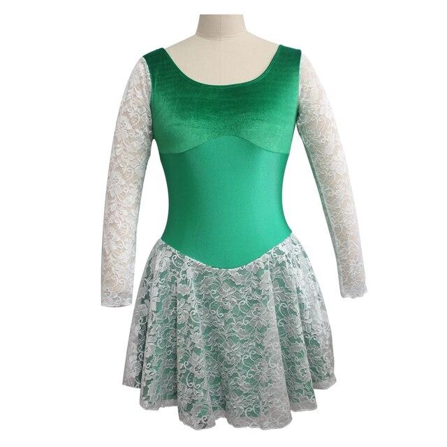 f3e8bdb2f39d Girls White Lace Long Sleeve Green Nylon Lycra Leotard Velvet Dress ...