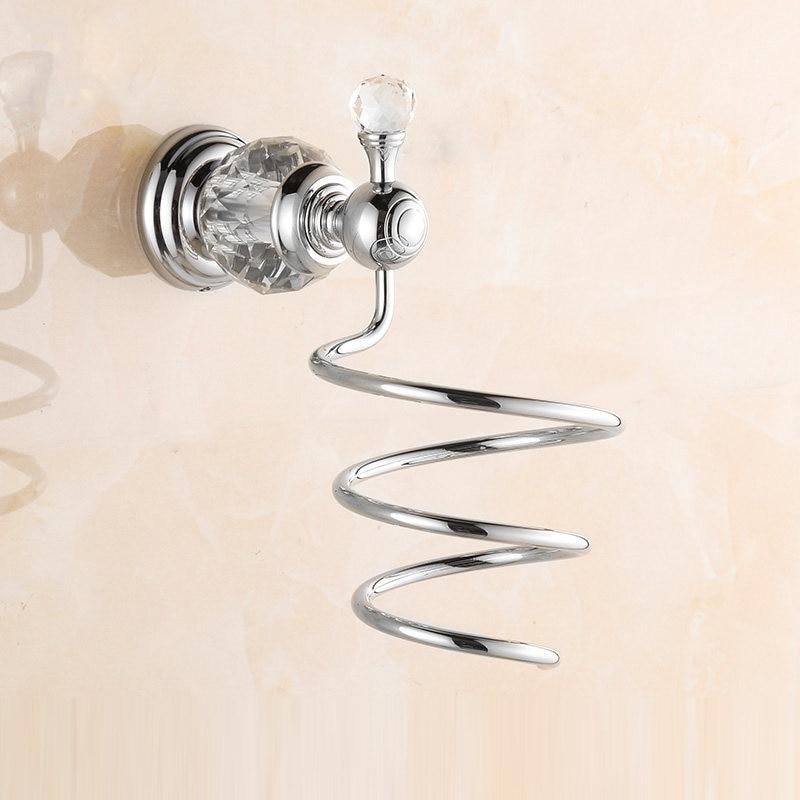 ФОТО Europe Antique Hair Dryer Holder Polished Diamond & Crystal Decorate Storage Shelf Spiral Stand Holder