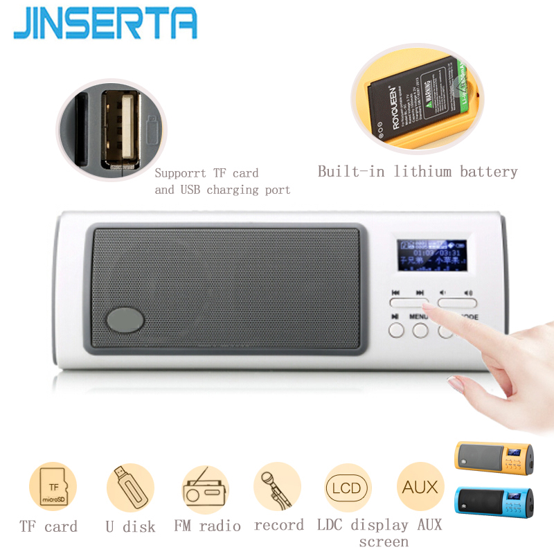 JINSERTA Portable Mini Bluetooth Speakers Stereo Multifunctional Digital LCD With FM Radio Support TF Card Play And Recorder