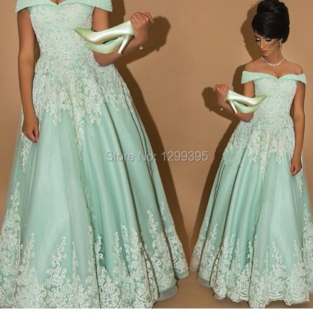 Fashionable Long Sage Green Prom Dress With Lace Appliques And