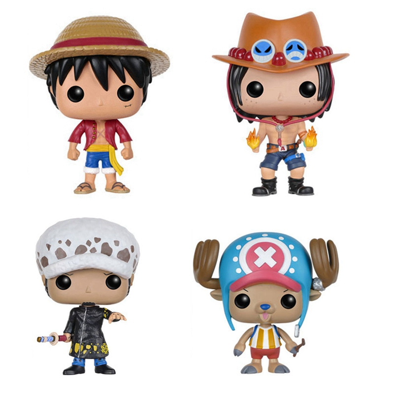 Funkos POPS One Piece Luffy Tonytony Chopper Portgas D ACE Trafalgar LAW Action Figures Toy Kids Gifts Doll image