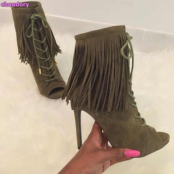 цена на Army Green Brown Beige Black Suede Leather Open Toe Ankle Boots Lace-up Drape Fringe Dress Shoes Ultra High Heel Nightclub Shoes