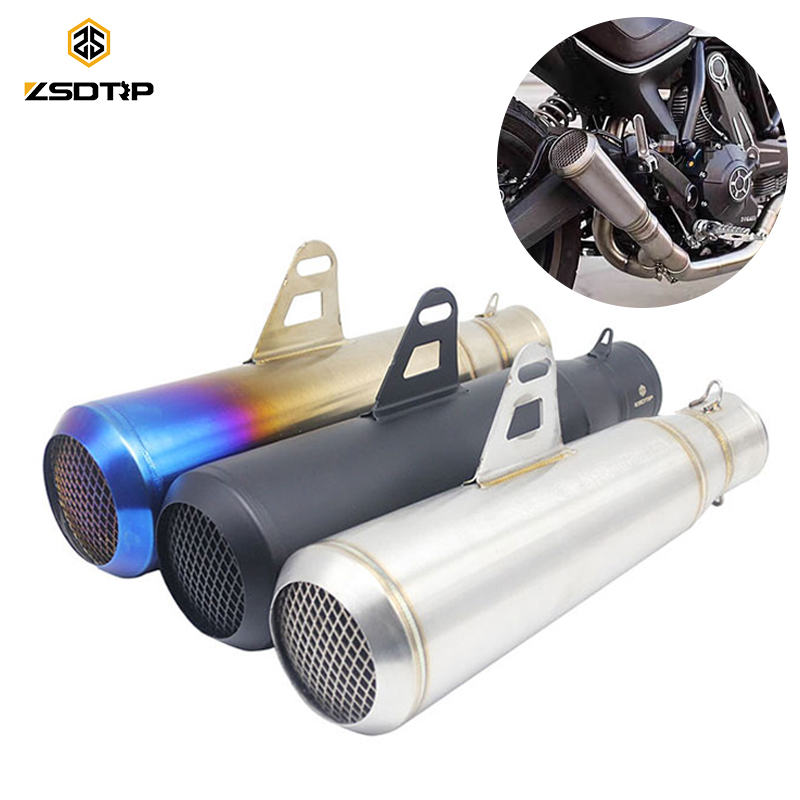 ZSDTRP 51mm Universal Motorcycle Exhaust SC Muffler Modified Exhaust Stainless Steel For Most Motorbike KTM ATV Z1000 Z750 Z800 universal motorcycle slip on mivv exhaust for most exhaust mt07 09 for 10rzx6r10r z800 ninjia er6n z1000
