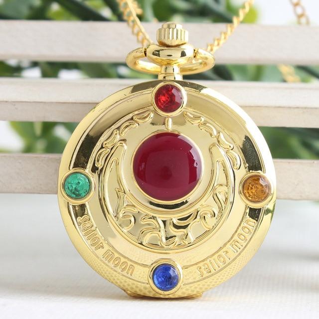 Retro flip Sailor Moon prism watch new creative animation quartz pocket watch gi