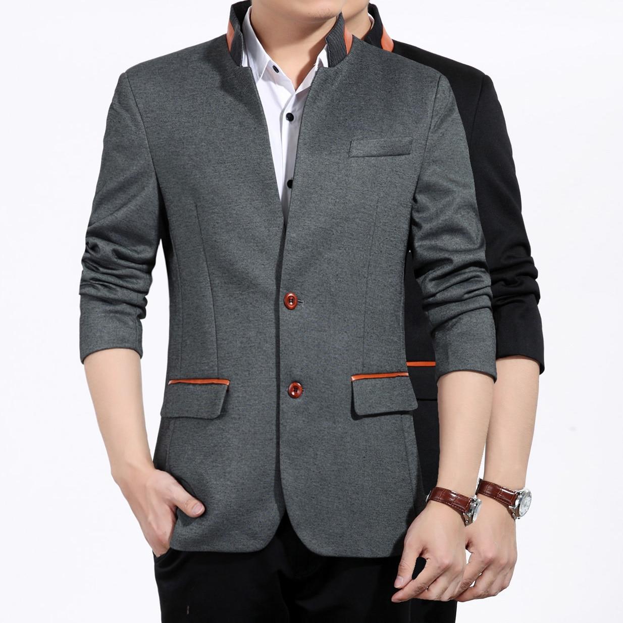 Men's jacket collar - 2016 New Arrival Fashion Leather Stand Collar Blazer Men Slim Fit Blazer Jacket Men Plus Size