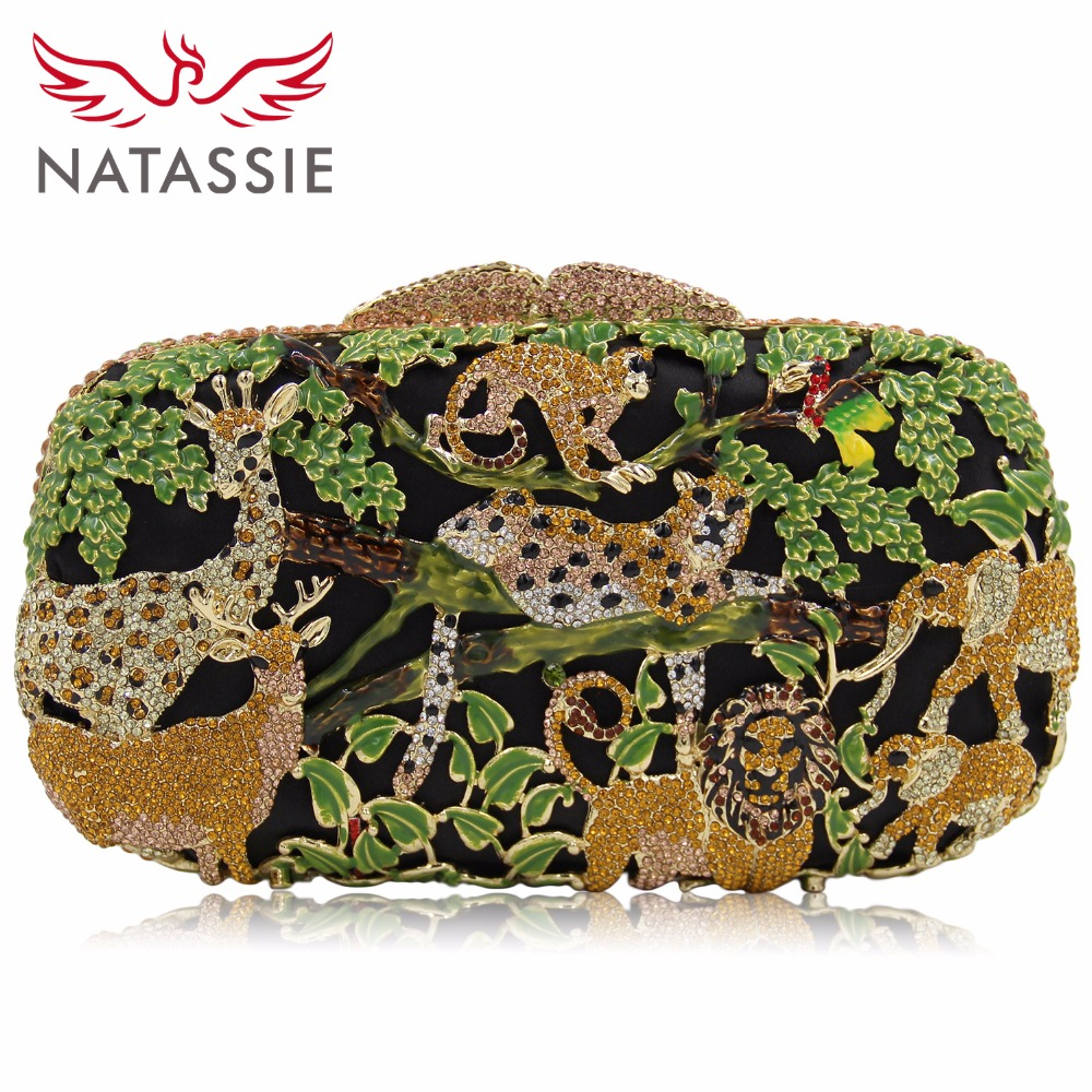 NATASSIE Evening Bags Women Clutches Bag Ladies Crystal Purses Female Zoo Animal Party Clutch yuanyu 2018 new hot free shipping real python leather women clutch women hand caught bag women bag long snake women day clutches