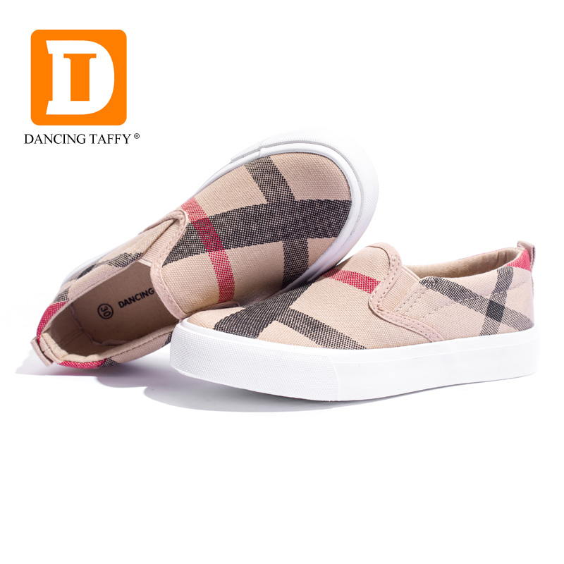 Gingham Striped Children Shoes Girls Brown Boys Sneakers Slip On Canvas Fashion Rubber Anti Silppery Autumn Vulcanize Kids Shoes