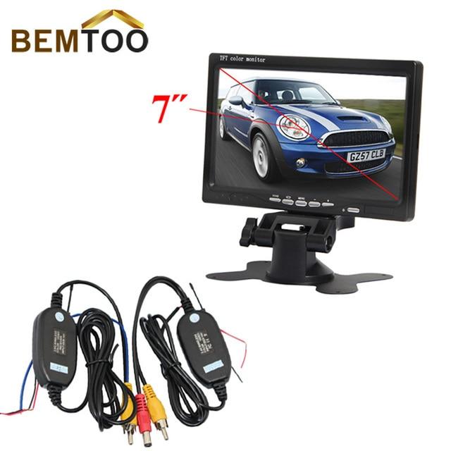 """BEMTOO 7 """"TFT LCD de Coches Vista Trasera Del Monitor Con 2.4G transmisor y el Módulo receptor Inalámbrico adaptador con gatillo alambre"""