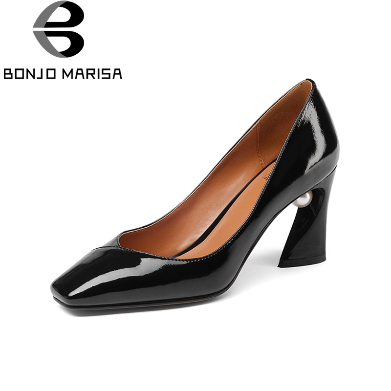 BONJOMARISA New Fashion Genuine Leather Square Toe Square High Heels Shoes Woman Casual Office Spring Pumps Black Big Size 33-43