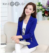 2017 High Quality Autumn New Women Work Wear Suit Coat Female Fashion Slim Long Sleeved Candy Color  Red Blue Black BlazerJacket