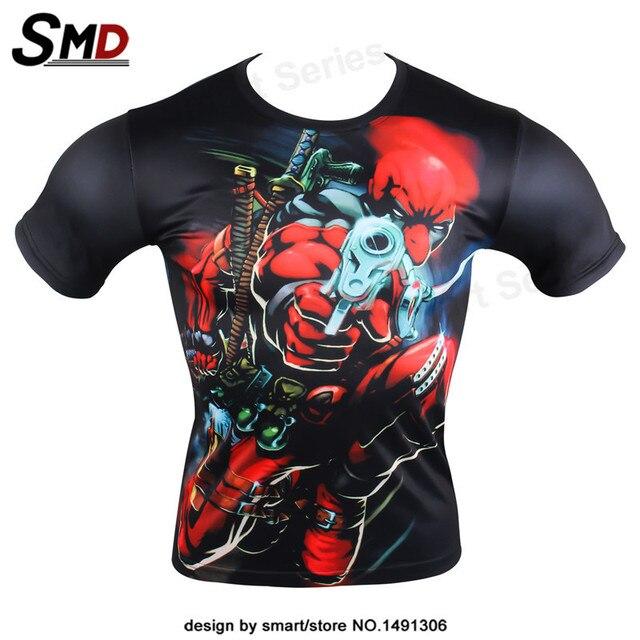 2016 Новая мода майка Мужчины Комиксов Marvel Super Hero Дэдпул Задира Персонажи Дэдпул Костюм Топ Armour Under футболка Homme