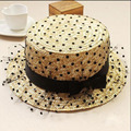 2016 del Suéter de la Gasa de Lunares Muchachas de La Manera Sombreros de Paja de Verano Para la muchacha Panamá Beach Fedora Paja Sombreros