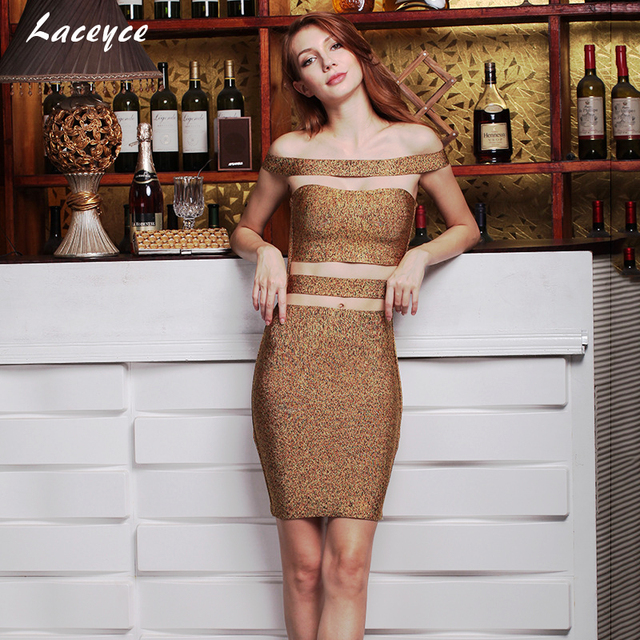 850255e86ade Laceyce 2018 Women Runway Bandage Dress Khaki Brown Off Shoulder Cut Out  Sexy Party Khloe Kardashian Dress Dropshipping