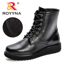 ROYYNA 2019 New Leather Women Boots Winter Short Plush Shoes Feminina Female Motorcycle Ankle Fashion Botas