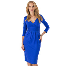 Wholesale V-neck Long Sleeve Knee-length New Fashion Hot Sale Women Dresses Spring Autumn Winter Party Cocktail Casual