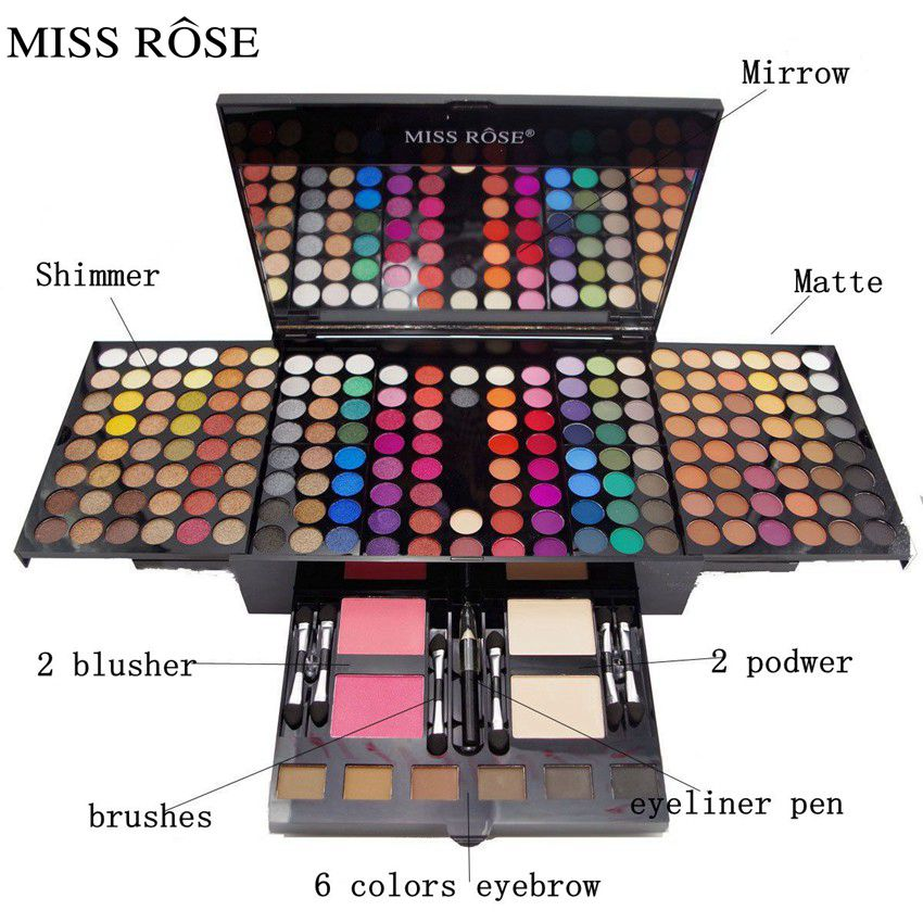 MISS ROSE 180 colors New Makeup Palette Eyeshadow With Eye Primer Luminous Eye shadow Palette powdery cake Grooming powder set miss rose plate of the piano box eye shadow makeup of dumb light of pearl tray blush powdery cake grooming powder cosmetics box