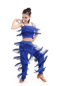 Image 5 - Latin dans elbiseleri için satış balo salonu artı boyutu Fringe püskül takım elbise pantalonları pullu Fringe Salsa Samba kostüm çocuk çocuk kız
