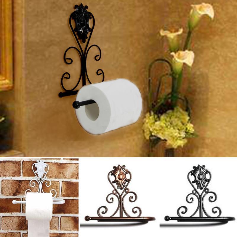 Iron Toilet Paper Roll Holder Bathroom Wall Mount Rack Toilet Paper Holder Vintage Black White Bronze Paper Holders Home Decor