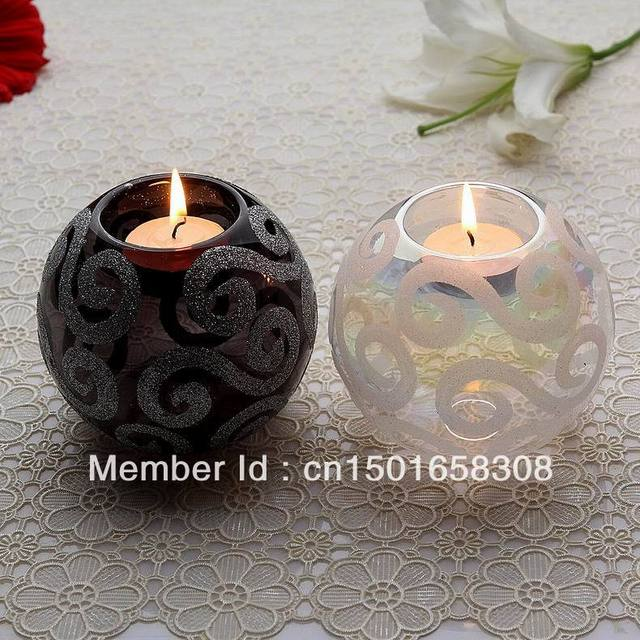 Freeshipping! white+black crystal tealight holders for wedding centerpieces, Europe candlestick dinner table decor,candlelight