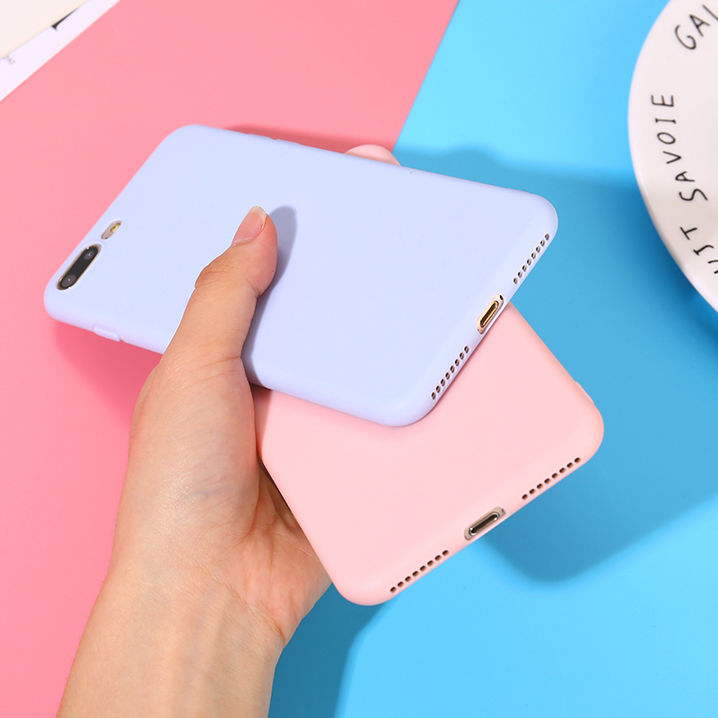 купить Color TPU Silicone Frosted Matte Case For iPhone 7 8 Plus 6 6s X Plus 5 5S Soft Back Cover for iPhone 6 Plus 7 8 XR XS Max Case по цене 63.51 рублей