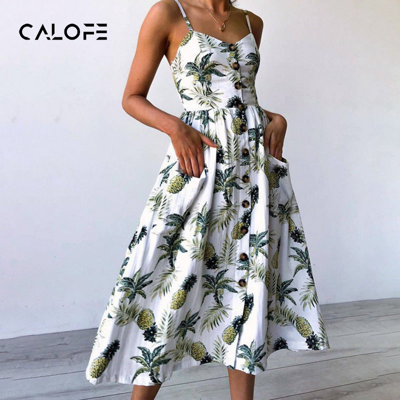 CALOFE Summer Women Dress 2018 Vintage Sexy Bohemian Floral Tunic Beach Dress Sundress Pocket White Dress Striped Female Brand