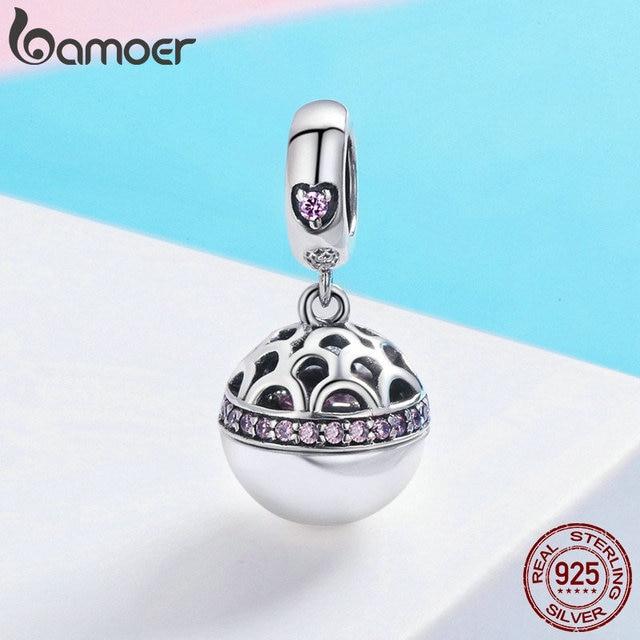 BAMOER Authentic 925 Sterling Silver Love Gift Box Ciondola Sfera Del Pendente di Fascino misura Donne Charm Bracelet & Collane Gioielli SCC689