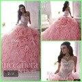 Luxo 2015 vestido de Organza com cristal rosa Quinceanera vestidos de bola vestidos de Quinceanera doce 16 vestidos