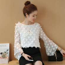 women's lace mesh appliques blouse long sleeve flare sleeve o neck loose shirt fashion female butterfly flower shirts tops