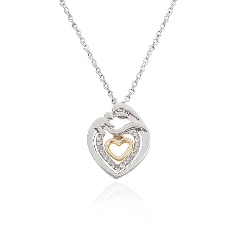 Classic Fashion Mother Hold Baby Heart Pendant Necklaces Hollow Inlaid Rhinestone Floating Charms Statement Necklace Choker