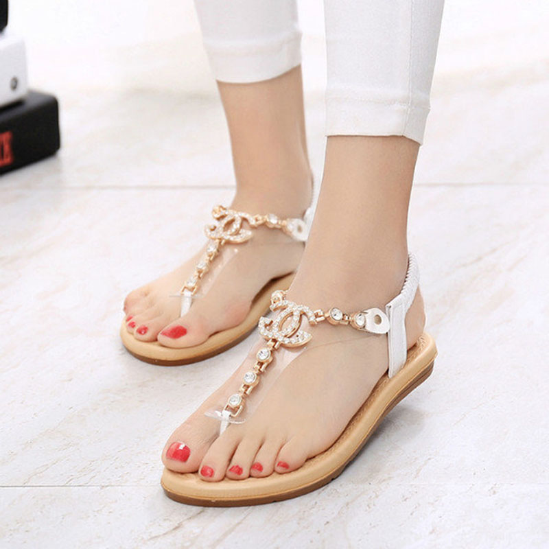 New Summer women sandals 2016 Fashion rhinestone comfortable flats flip gladiator sandals party wedding shoes