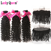 Brazilian Deep Wave Bundles With Frontal 4pcs/lot 100% Human Hair Bundles With Frontal Non Remy Hair Lucky Queen Hair Products