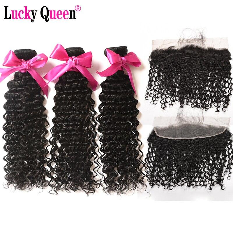 Paquets brésiliens de vague profonde avec Frontal 4 pcs/lot 100% paquets de cheveux humains avec frontale Non Remy cheveux chanceux reine cheveux produits