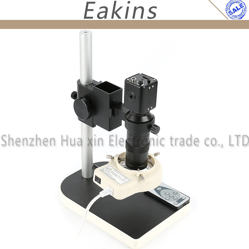 60F/S 1080P HDMI Industrial Video Microscope Camera+IR Remote Control+100X C-Mount Lens+56 LED Lamp+Stand For Repair Iphone PCB