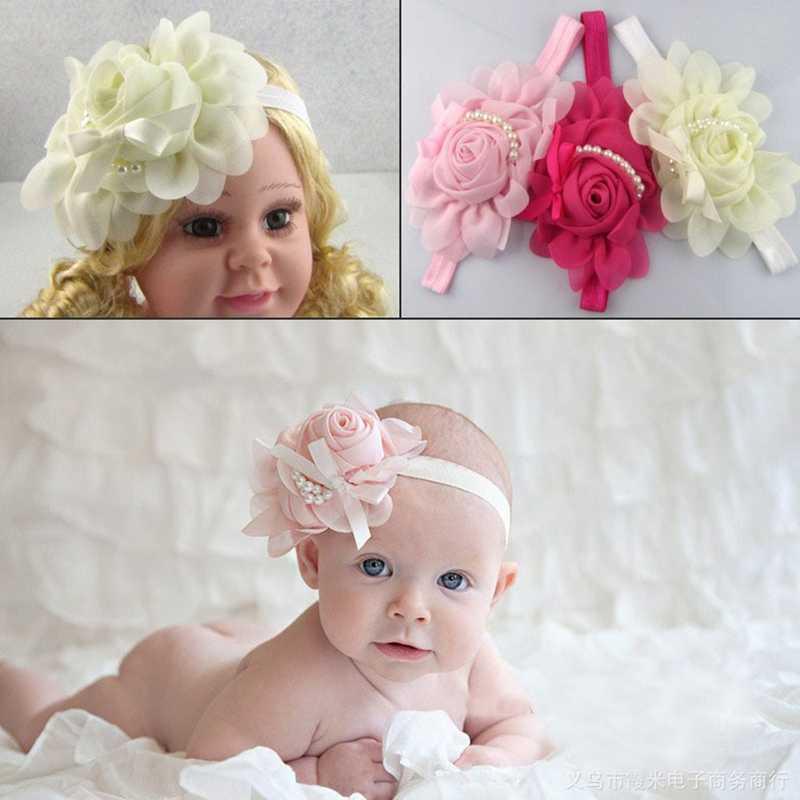 תינוק פרח בגימור לבן פנינה מוצק צבע ילדה ילדי תינוקות תינוק גומייה לשיער אבזרים לשיער עבור בנות נסיכת גומייה לשיער