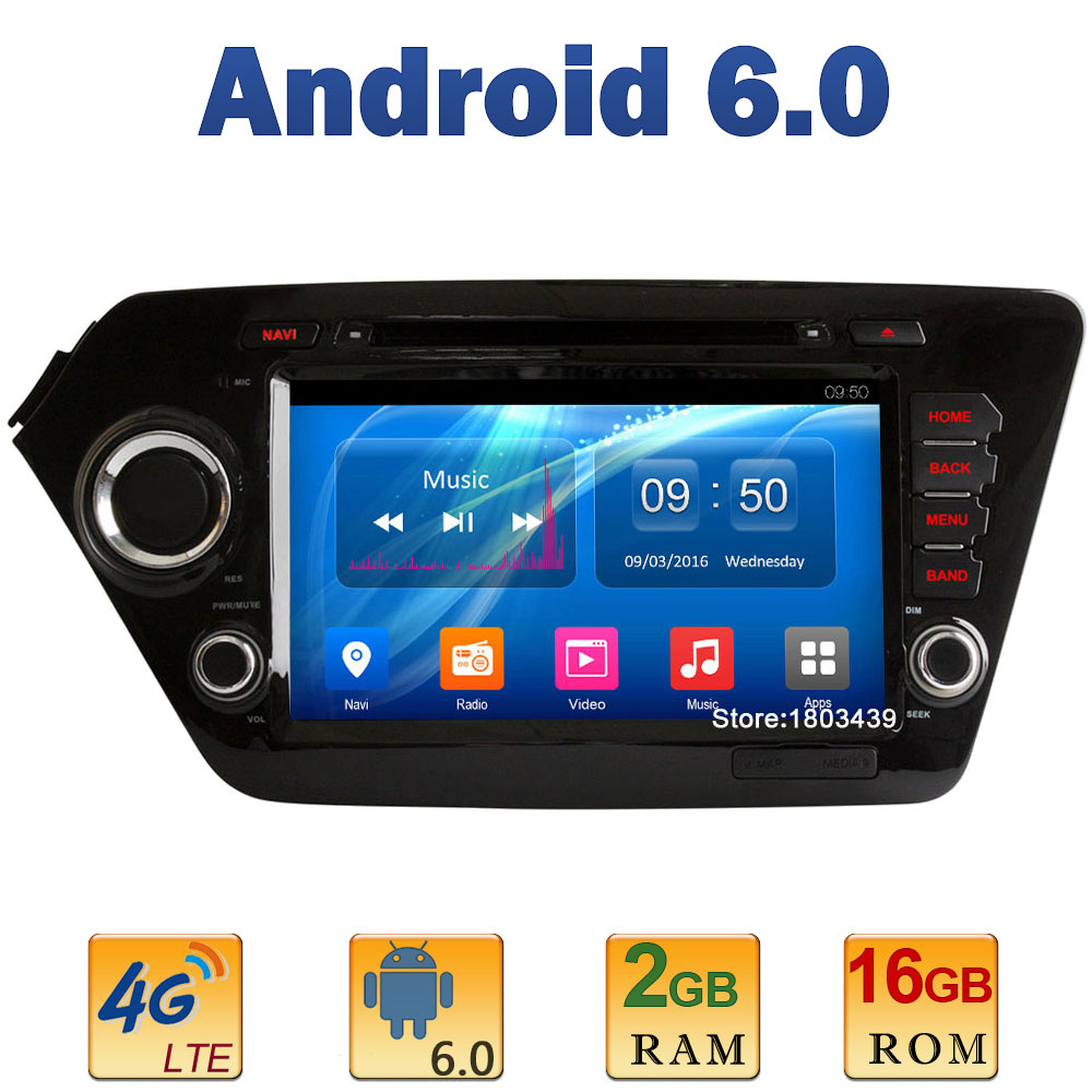 8 1024*600 Quad Core 2GB RAM 4G LTE SIM WIFI Android 6.0 Car DVD Multimedia Player Radio Stereo For Kia K2 Rio 2010-2015 DAB+
