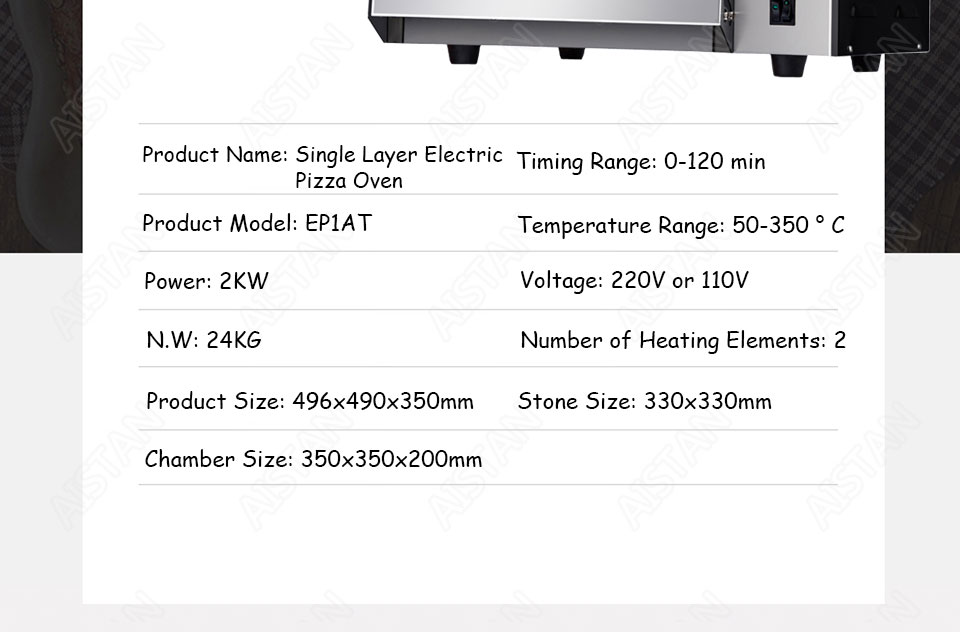 EP1AT electric stainless steel single layer higher chamber pizza oven with timer for baking bread, cake, pizza 24