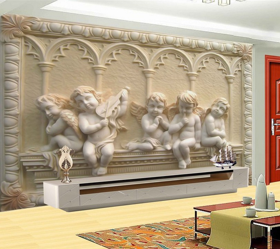 Flying angel baby religion painting vinyi wallpaper 3d for Decorative mural