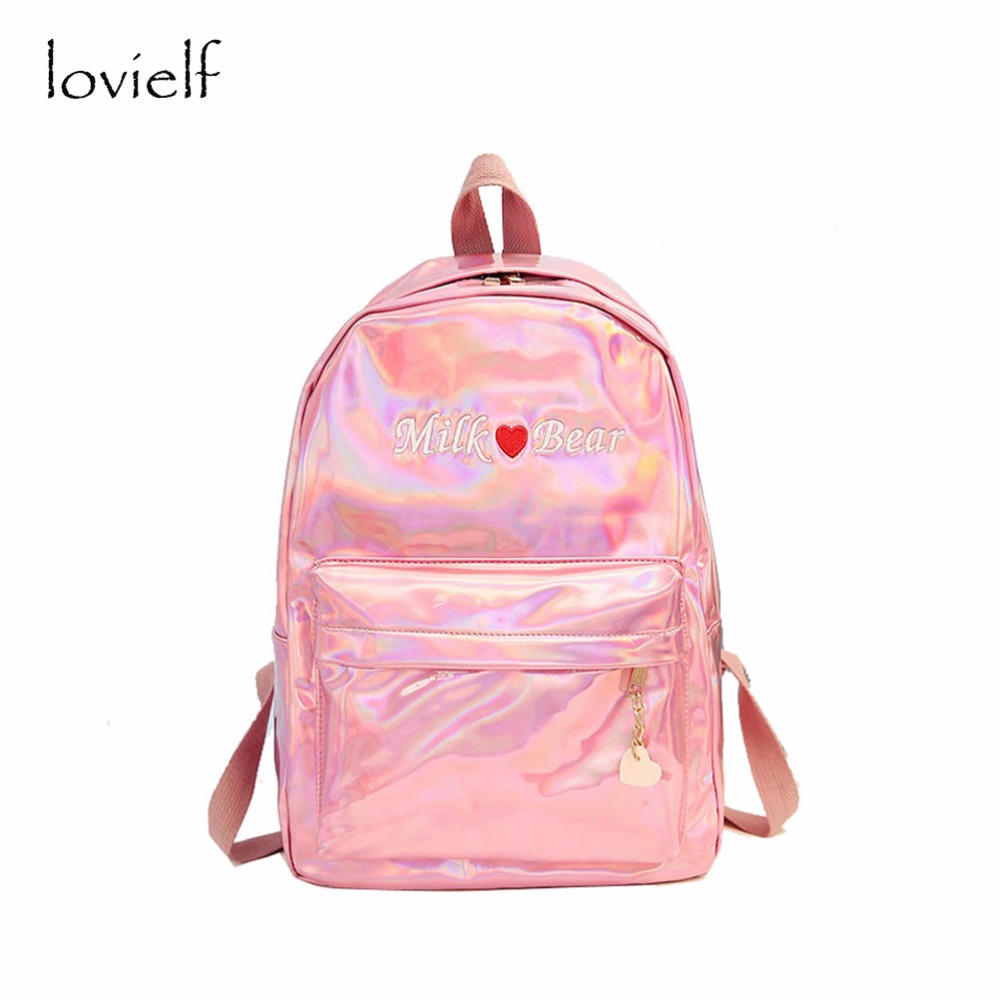 lovielf NEW Women Girl Teenager love heart Travel School Bags silver black bling pink Backpacks Book Bags adolescent adolescent