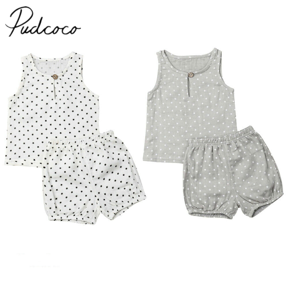 36859b14003f 2019 Baby Summer Clothing Newborn Baby Boy Clothes Sets Stars Print  Sleeveless Tops Shirt Shorts Pants