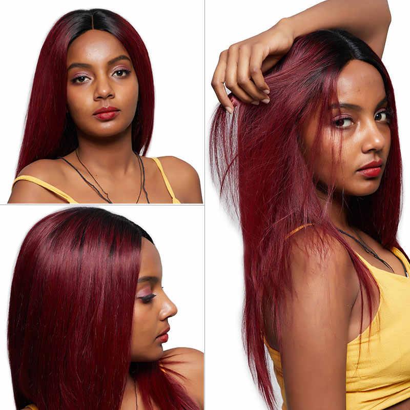 Pinshair Синтетические волосы на кружеве человеческих волос парики 4*4 застежка T1B 99J Бордовый Красный Ombre перуанский парики с прямыми волосами для черный Для женщин Nonremy