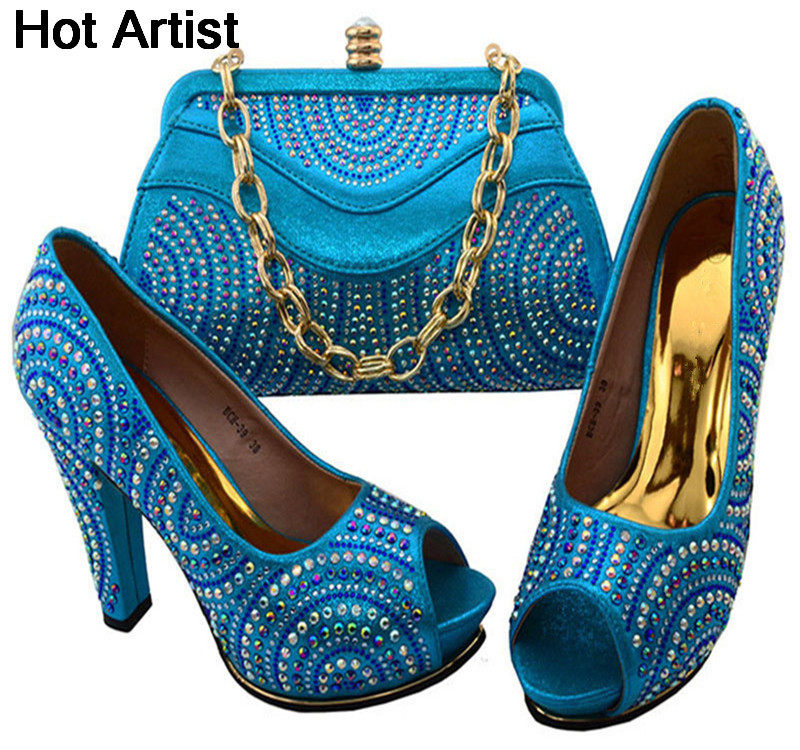 Hot Artist Italian PU Materials Woman Sky Blue Color Shoes And Matching Bag Set Summer High Heel Shoes And Bag For Party BCH-391 hot artist italian style pu leather shoe and matching bag set fashion summer high heels shoes and bags sets for party ym0021