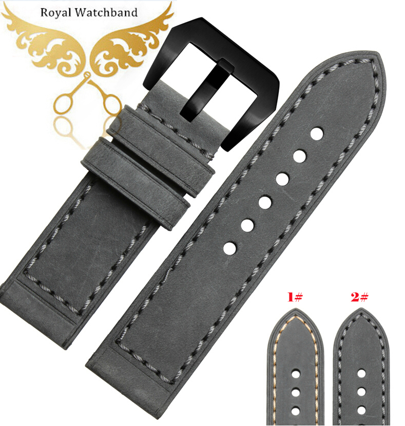 Mens Top Grade Genuine Leather Watch Strap Band Black Metal Buckle 24mm 26mm
