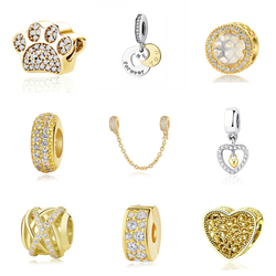 Original 925 Sterling Silver Bead Charm Pendant Safety Chain Crystal Charms Shine Gold Color Fit Pandora Bracelets DIY Jewelry