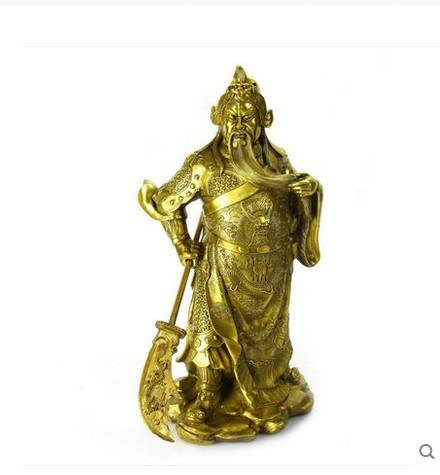 Fooke for opening copper font b knife b font Guan Wu wealth fortune bronze ornaments opening