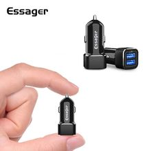 Essager Dual USB Car Charger For iPhone Xs Samsung S10 Xiaomi Mi 9 8 2.4A Fast Car Charging Adapter Mobile Phone Car USB Charger