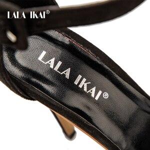 Image 5 - ララ ikai 女性アンクルストラップサンダルファッション高ハイヒールサンダル夏ウィービング薄ハイヒールの女性は靴女性 014B0174  4