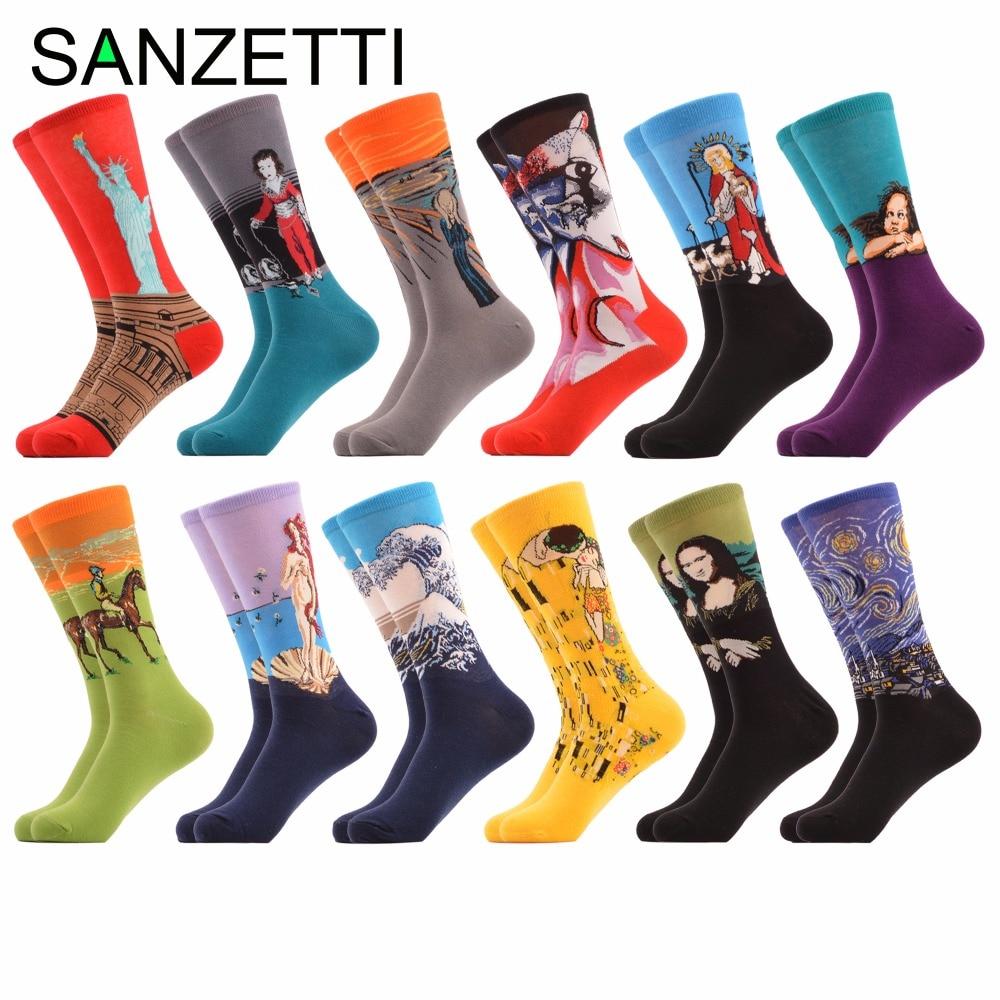 SANZETTI 12 paar / partij mannen Kleurrijke Sokken Gekamd Katoenen - Herenkleding