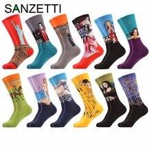 SANZETTI 12 pár / tétel Férfi színes zokni puha pamut zokni olajfestéssel Van Gogh sárga Klimt festmény Streetwear stílus