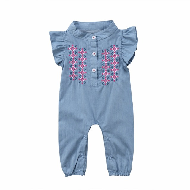 7472c52d453a 2018 Infant Newborn Baby Girl Sunsuit Summer Sleeveless Floral Embroidery Jeans  Denim Romper Clothes Playsuit Jumpsuit Clothing